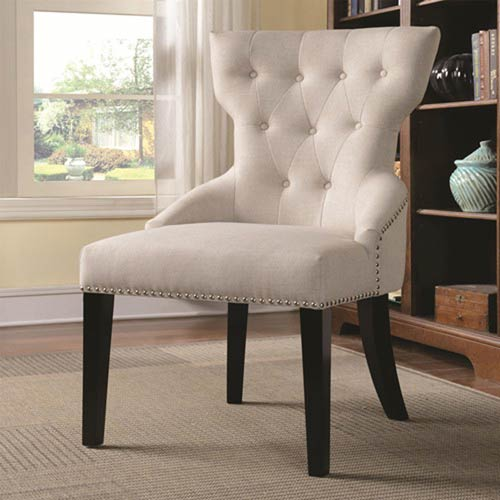 Coaster Furniture Tufted With Silver Nailhead Trim Beige Accent
