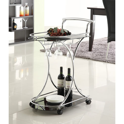 Black Serving Cart with Two Black Glass Shelves