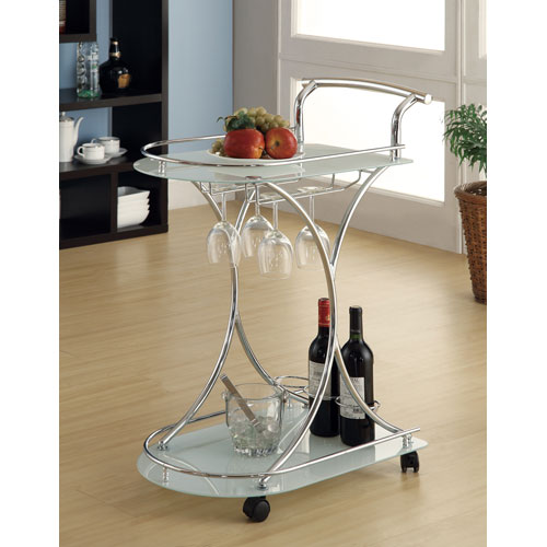 Serving Cart with Two Frosted Glass Shelves