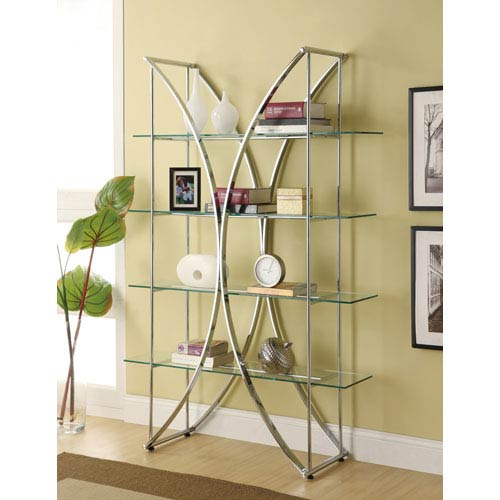 Coaster Furniture X-Motif Chrome Finish Bookshelf with Floating Style Glass Shelves