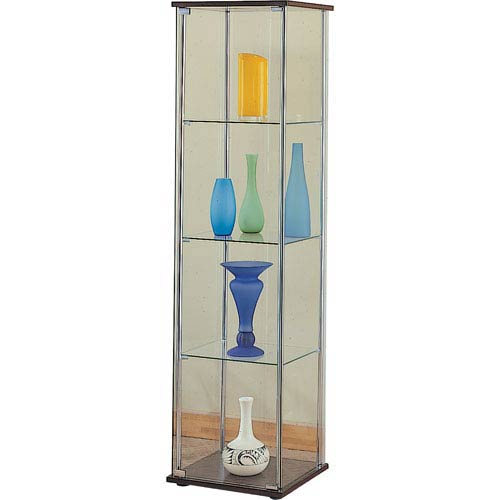 Coaster Furniture Four Shelf Glass Curio Cabinet with Cappuccino Top and Bottom