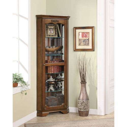 Coaster Furniture Cherry Five Shelf Corner Curio with One Door and Acanthus Leaf Top