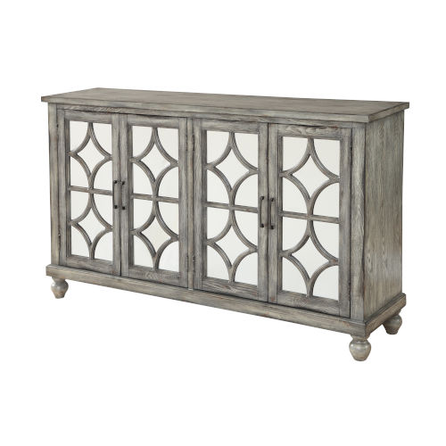 Gray 35-Inch Four-Door Tv Stand Cabinet