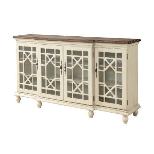 Ivory 72-Inch Four-Door Tv Stand Cabinet