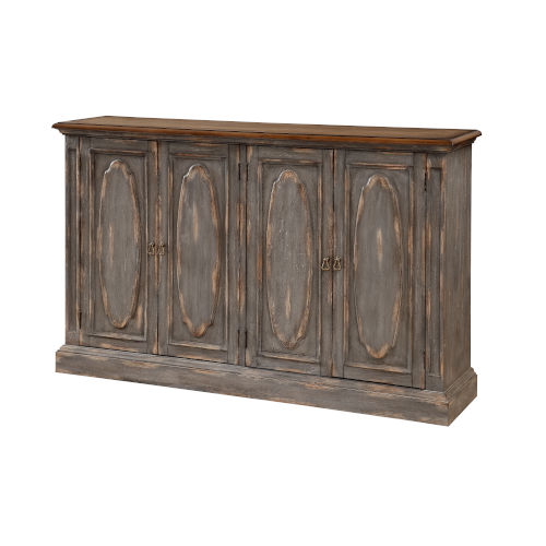 Distressed Blue 40-Inch Four-Door Tv Stand Cabinet