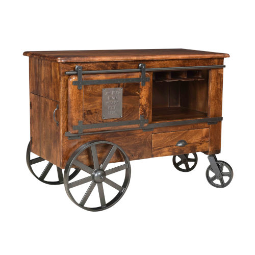 Brown Two-Door-Drawer Bar Cart