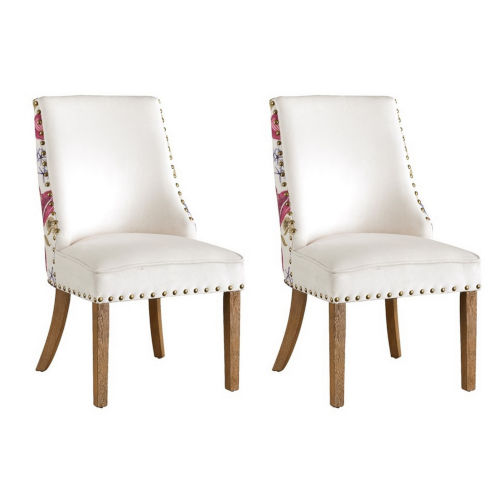 Toffee Brown White Floral Accent Chair, Set of Two
