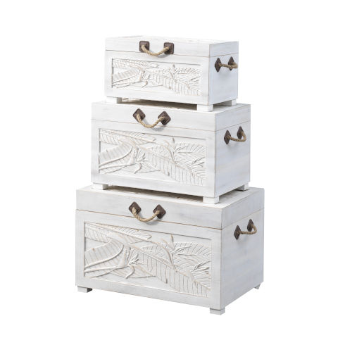 Wonders of the Sea Tropics White Wash Nesting Trunk, Set of Three