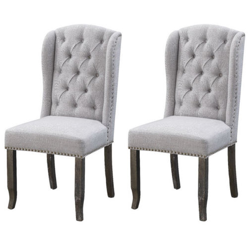Valerie Grey Silvery Grey Accent Chair, Set of Two