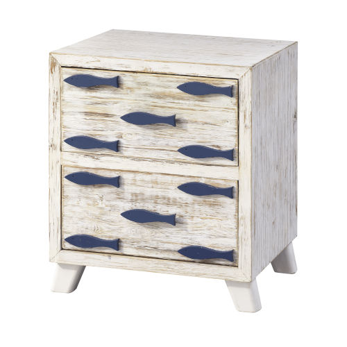 Schools Out White Rub and Blue Cabinet