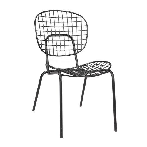 Black Powder Coat Finish Accent Chair