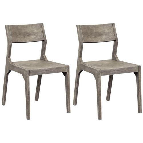 Yukon Sandblast Grey Round Seat Dining Chair, Set of Two
