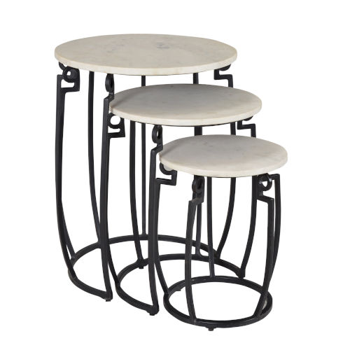 Black 19-Inch Nesting Table, Set of 3