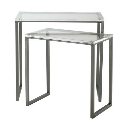 Clear and Black Iron Set of Two Rectangular Nesting Tables