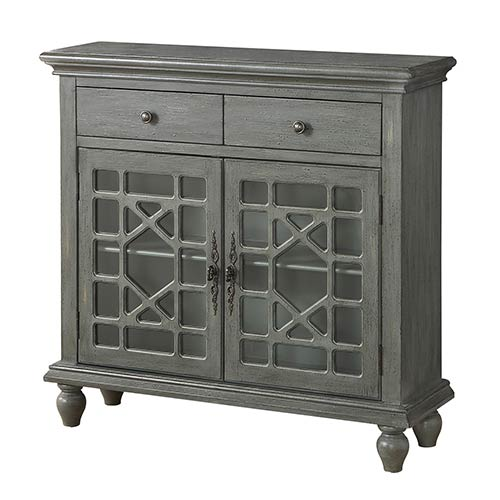 Coast To Coast Imports Grey Two Drawer Two Door Cabinet 13710 Bellacor