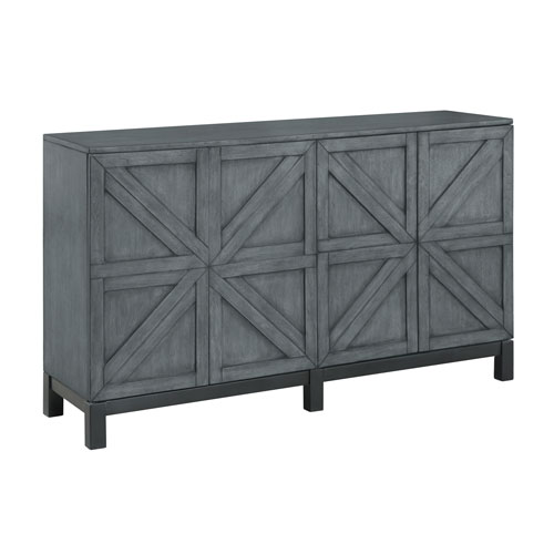 Four Door Media Credenza in Gray