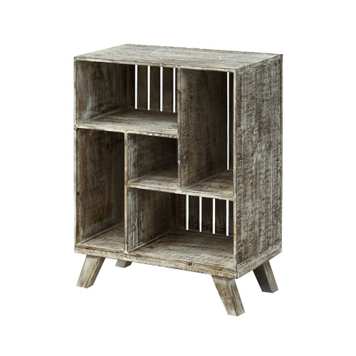Crate Bookcase in Brown and White Washed