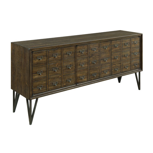 Three Door Media Console in Brown