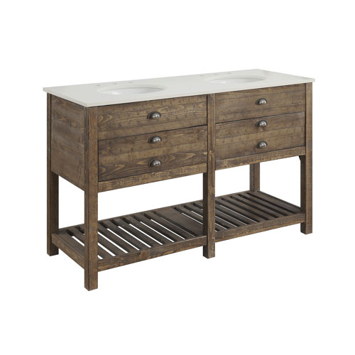 Two Drawer Double Vanity Sink in Brown