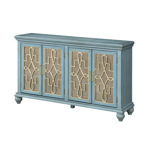 Four Door Media Credenza in Blue and Gold