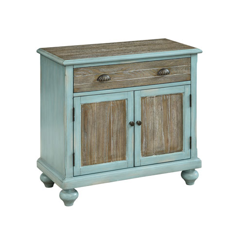 Two Door One Drawer Cabinet in Blue and Brown