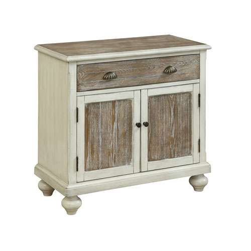Two Door One Drawer Cabinet in White and Brown