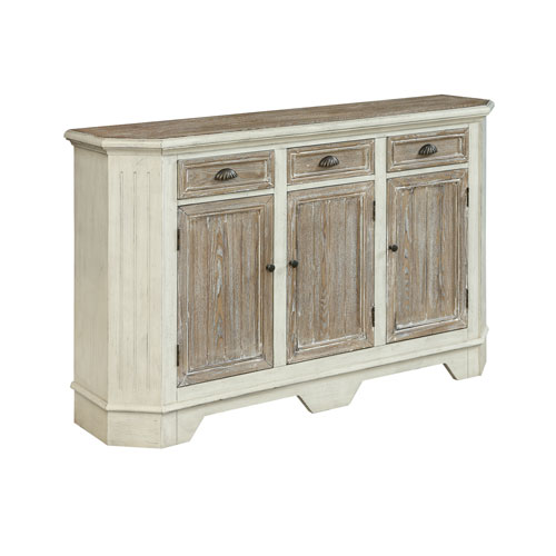 Three Door Three Drawer Credenza in White and Brown