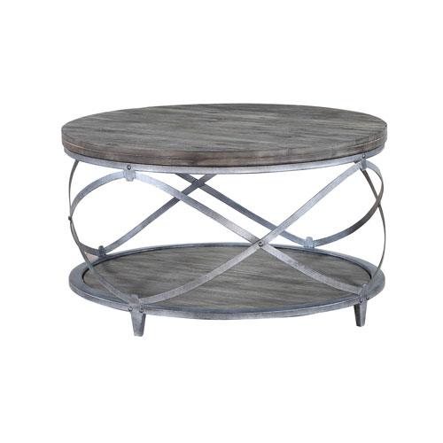 Waverly Round Cocktail Table in Gray and Brown