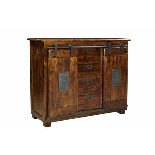 Two Door Four Drawer Ironworks Warm Brown Sideboard
