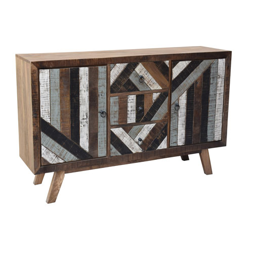 Coast to Coast Imports  Two Door Three Drawer Mango Wood Media Credenza