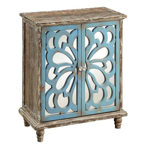 Devale Brown Accent Cabinet with Intricate Blue Cut-Out over Bright Mirrored Doors