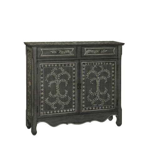 Coast to Coast Imports  Hogue Grey Scroll Two Door Cupboard