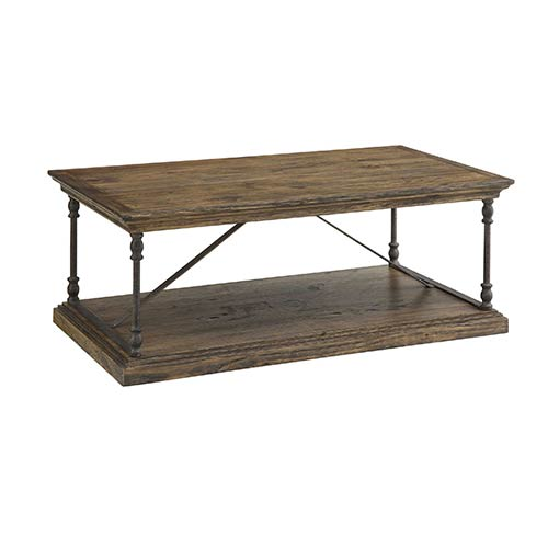 Coast to Coast Imports  Hylas Medium Brown Wood and Iron Cocktail Table