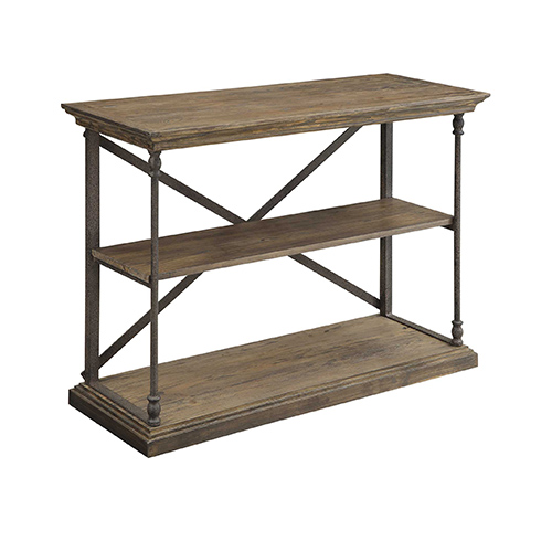 Coast to Coast Imports  Hylas Medium Brown Reclaimed Wood and Iron Console Table