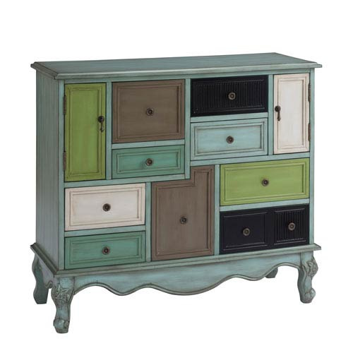 Coast to Coast Imports  Leslie Multicolor Nine Drawer Two Door Cabinet
