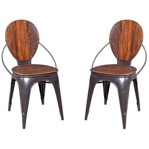 Sheesham and Iron Accent Chair - 2 Pack