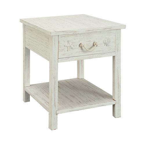 White Rub One Drawer End Table