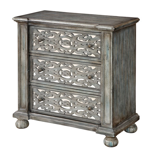Blue Grey Three Drawer Chest