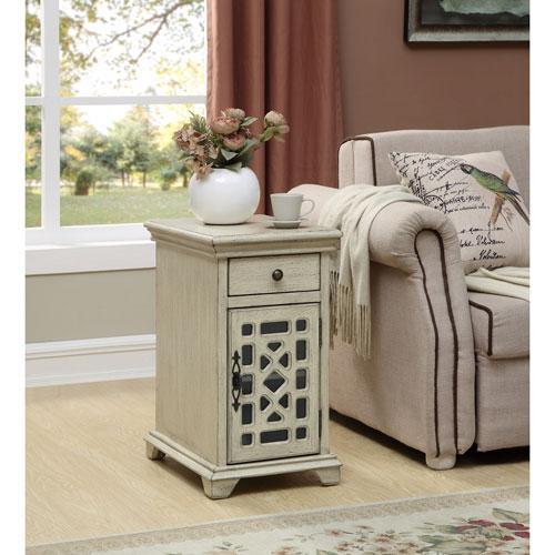 One Drawer One Door Chairside Cabinet, Millstone Texture Ivory