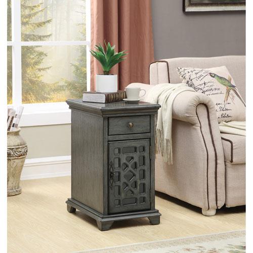 One Drawer One Door Chairside Cabinet, Joplin Texture Grey