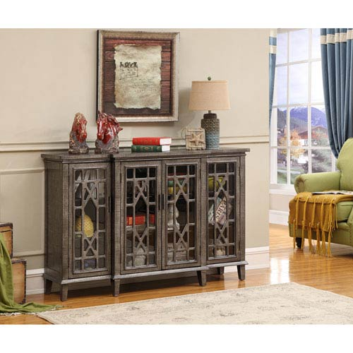 Coast to Coast Imports  Four Door Media Credenza, Gunmetallic Textured