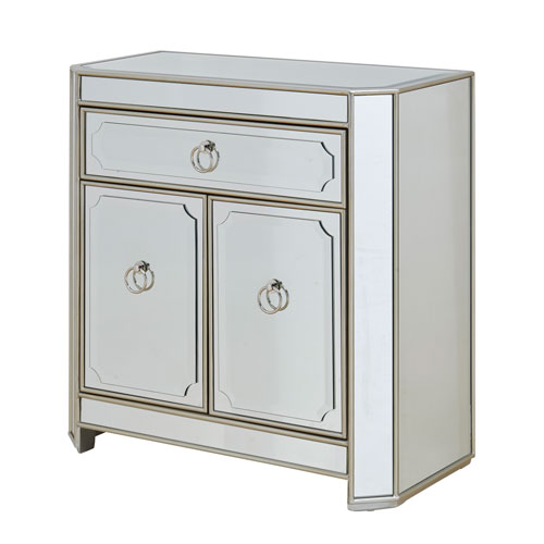 Silver and Mirrored One Drawer Two Door Cabinet