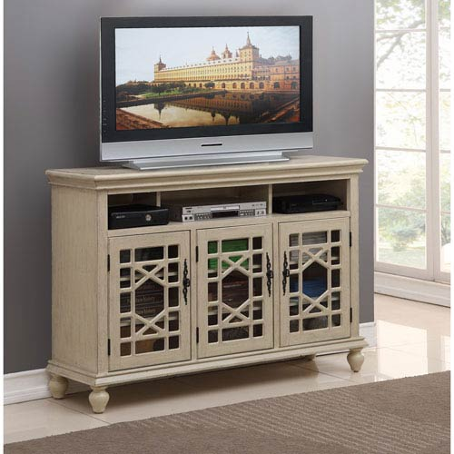 Coast to Coast Imports  Three Door Media Credenza, Millstone Texture Ivory