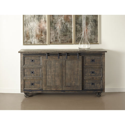 Six Drawer Two Sliding Door Credenza, Smokey Ember Grey