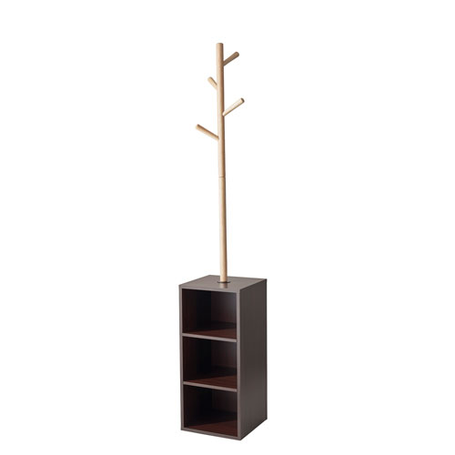 Hutch Natural and Walnut Finish Coat Rack with Storage