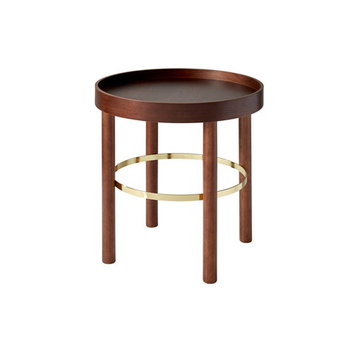 Montgomery Plywood with Walnut Rubberwood Veneer and Shiny Gold Metal End Table