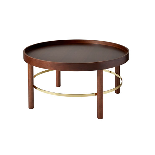 Montgomery Plywood with Walnut Rubberwood Veneer and Shiny Gold Metal Coffee Table