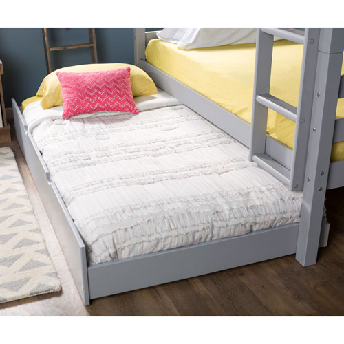Walker Edison Furniture Co. Solid Wood Twin Trundle Bed Only (bunk beds sold separately) - Grey