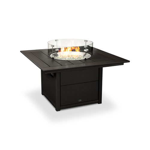 Square Black 42-Inch Fire Pit Table