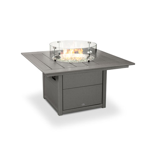 Square Slate Grey 42-Inch Fire Pit Table